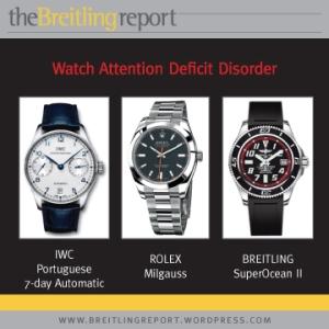 IWC Portuguese 7-day Automatic, Rolex Milgauss, Breitling SuperOcean II