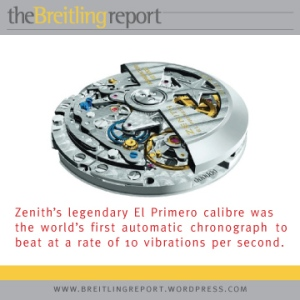 Zenith's legendary El Primero calibre was the world's first automatic chronograph to beat at a rate of 10 vibrations per second.
